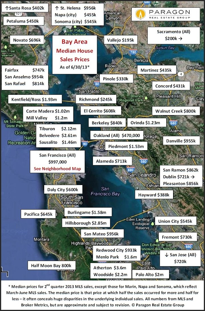 Updated Bay Area Home Value Map Real Data Sf